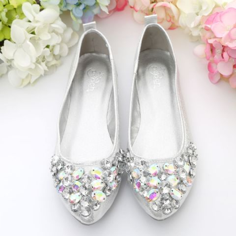 Siver Crystal Style Cinderella Loafers